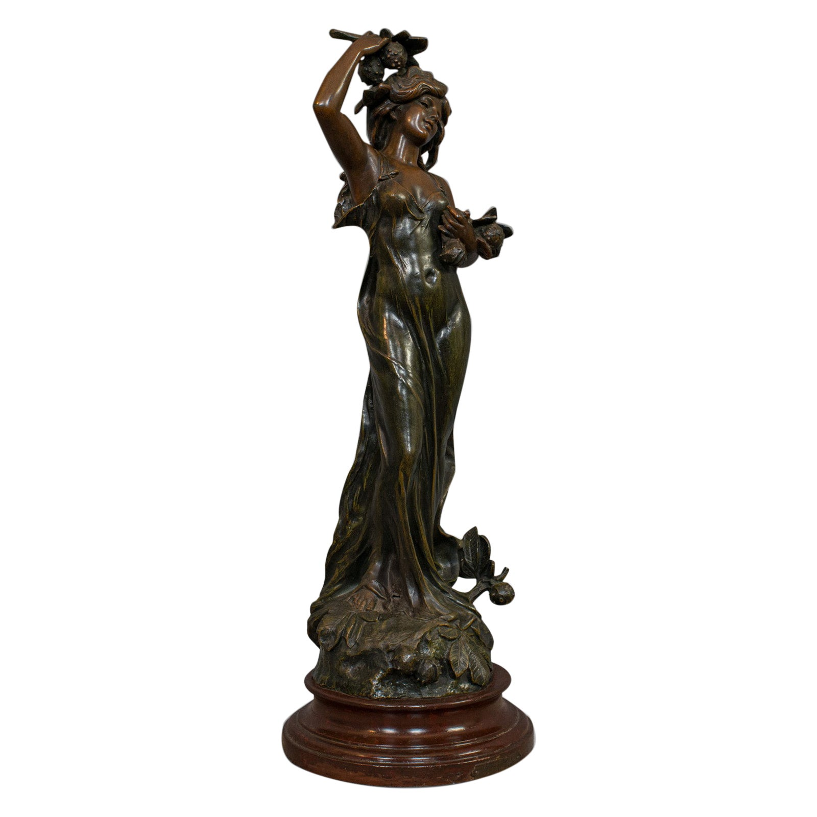 Antique Female Figure, French, Bronze Spelter, Statue, Art Nouveau, circa 1920