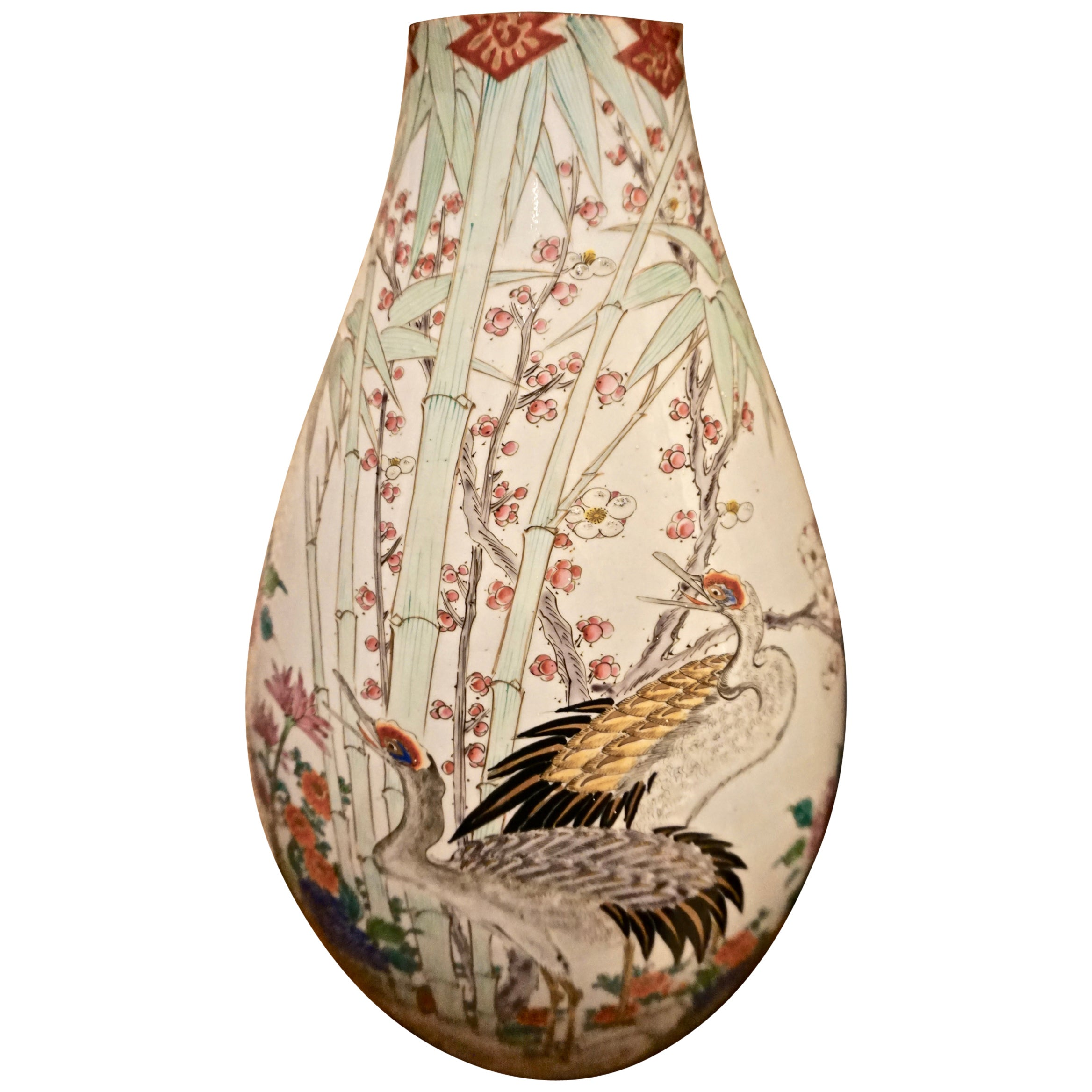 19th Century Handmade Large Japanese Conical Vase with Cranes and Foliage