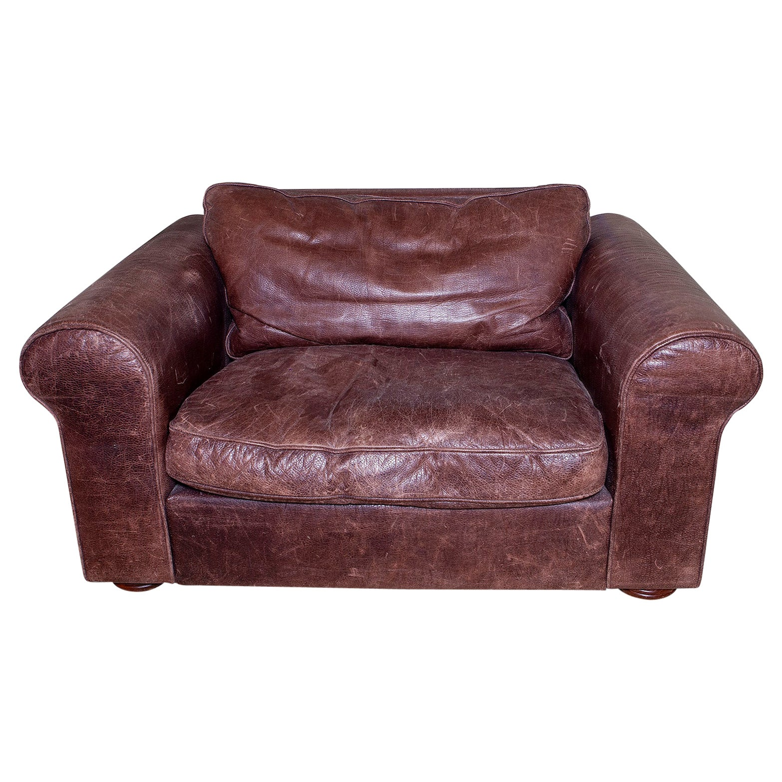 Settee Sofa 1-Seat Armchair Leather Brown Country House Club Modern