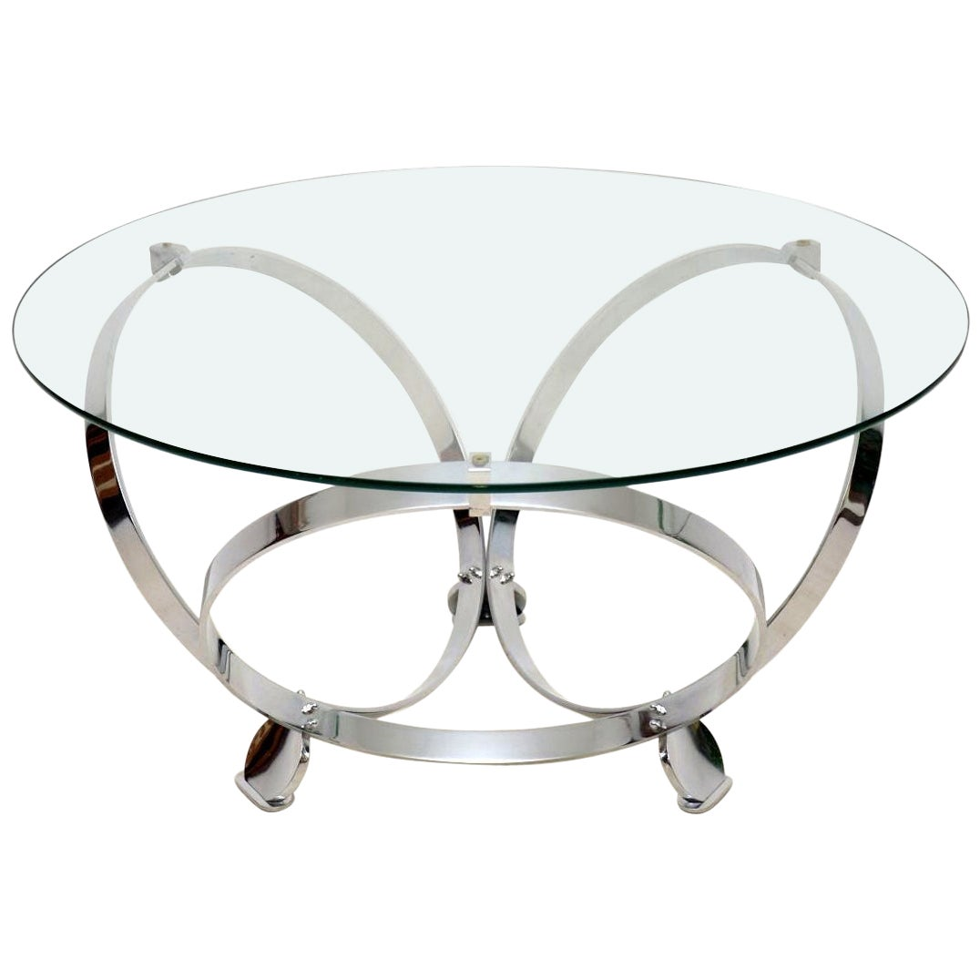 1970s Chrome and Glass Coffee Table by Knut Hesterberg
