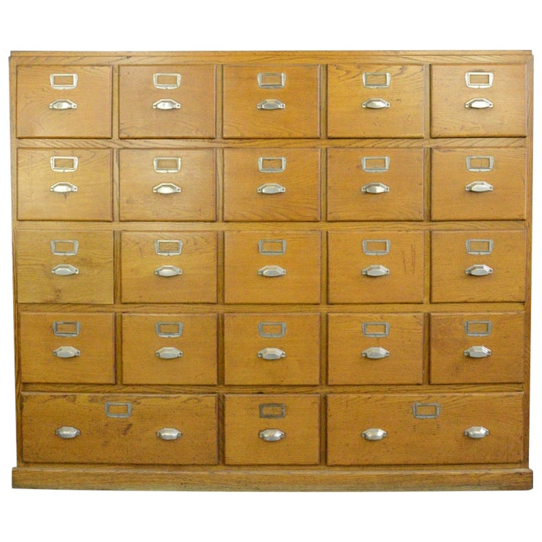 Large Bank of French Art Deco Filing Drawers, circa 1930s