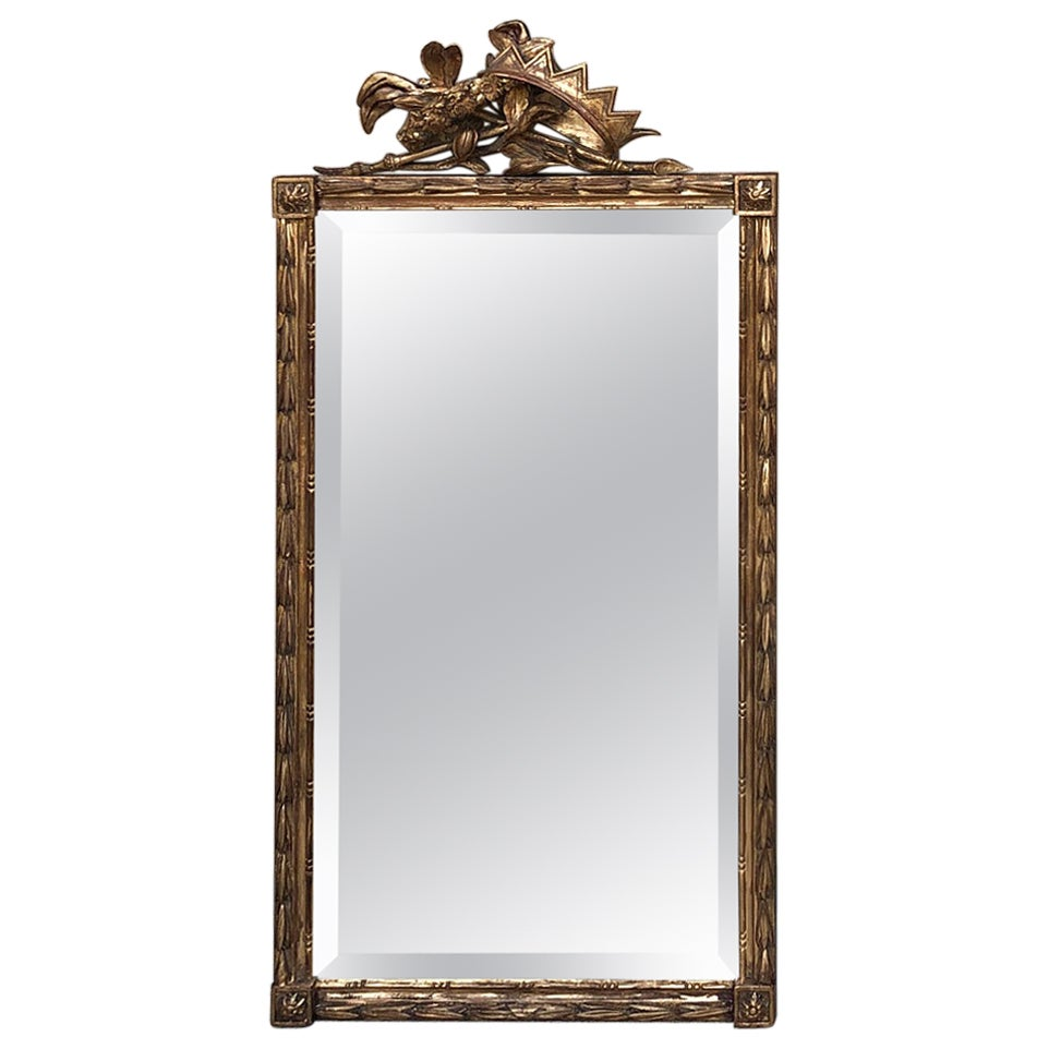 19th Century Italian Neoclassical Hand Carved Giltwood Mirror