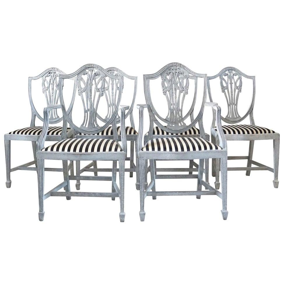 19th Century White-Grey Swedish Gustavian Set of Six Dining Chairs