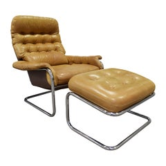 DUX Chair and Ottoman in Polished Chrome and Leather Upholstery, 1980s