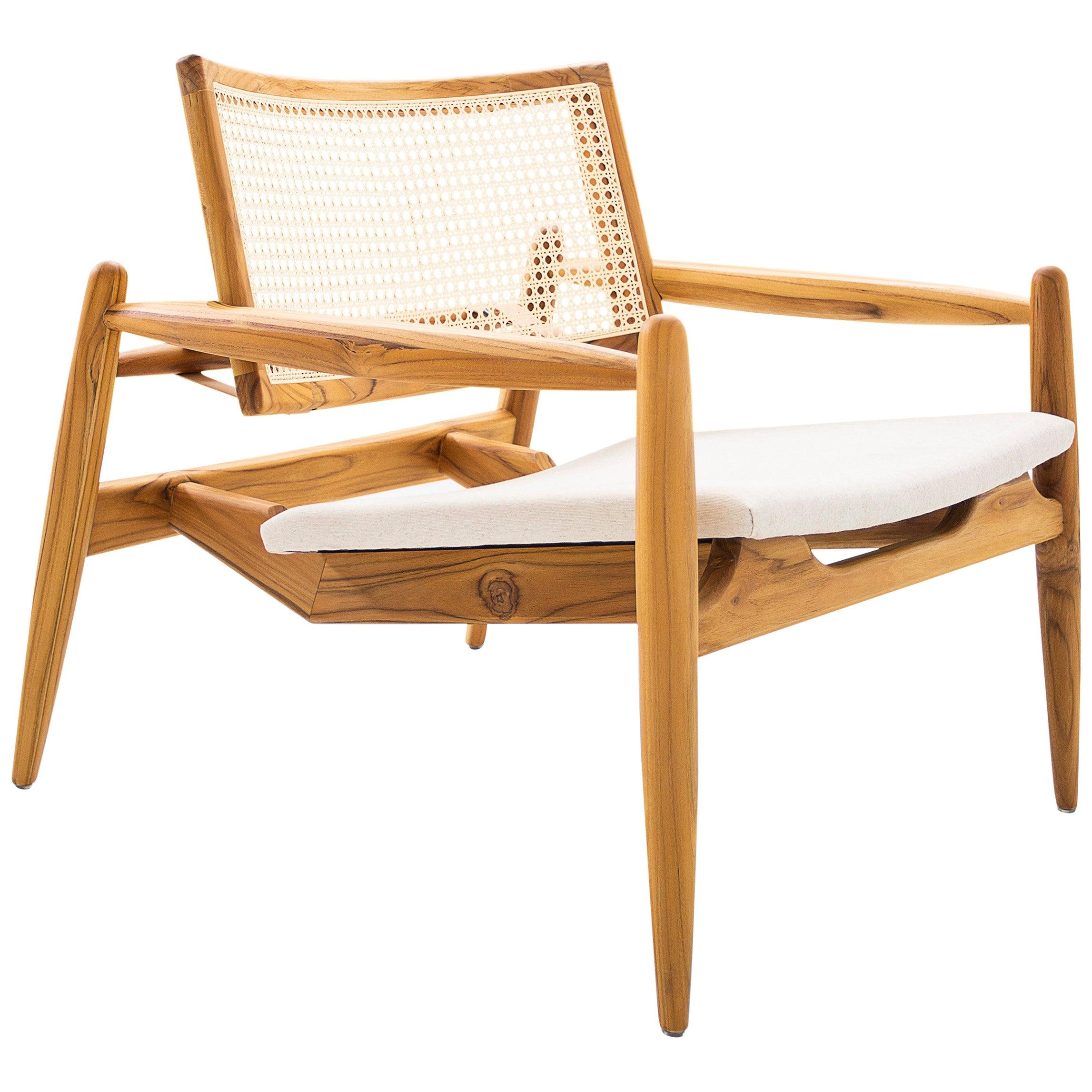 Soho Curved Cane-Back Chair in Teak and Oatmeal Fabric