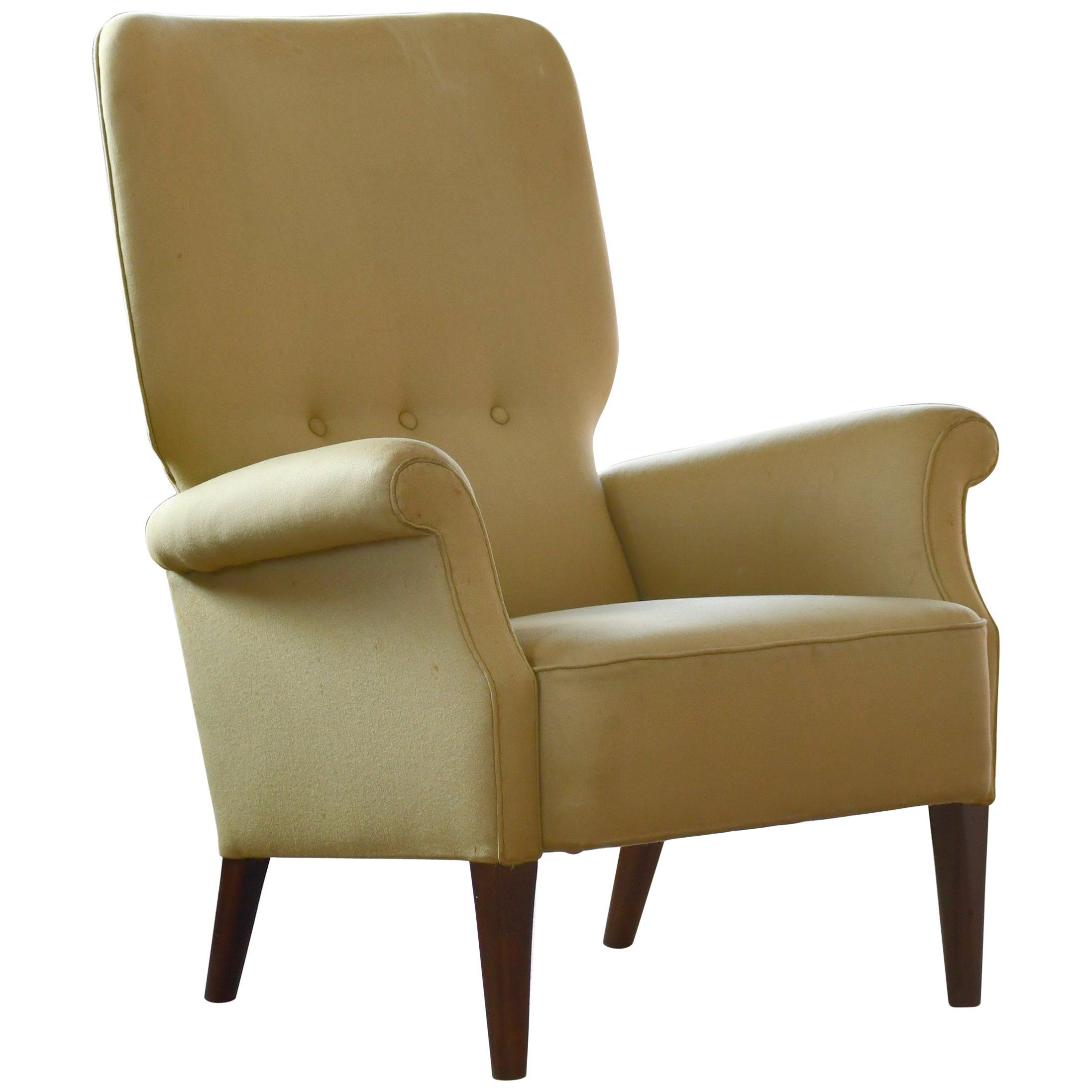 Fritz Hansen 1950s Highback Lounge Chair Danish Midcentury
