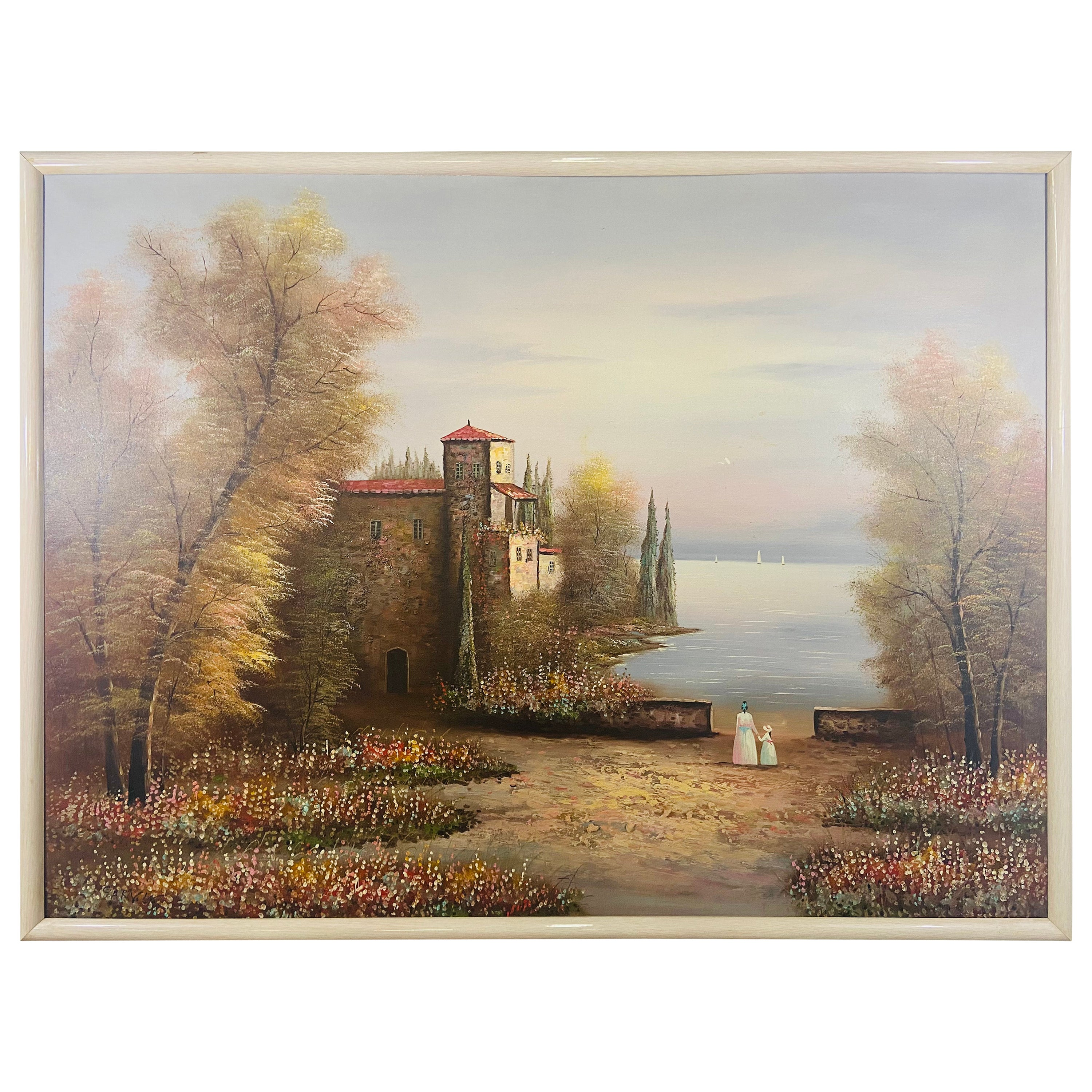 Large Landscape Castle on a Lake  Oil on Canvas Painting Signed Garvin
