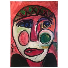 "Original Modern Expressionist Portrait ""Clown - Andy Warhol"" by Peter Keil"