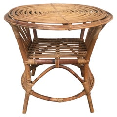 Mid-Century Modern Italian Round Bamboo and Wicker Side or Sofa Table, 1970s
