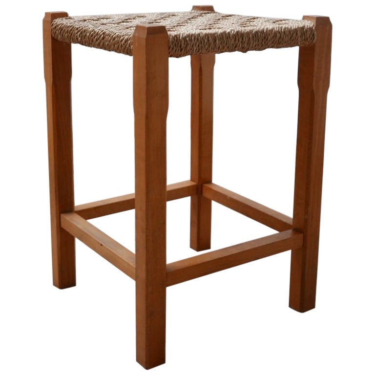 French Midcentury Cord Stool or Side Table