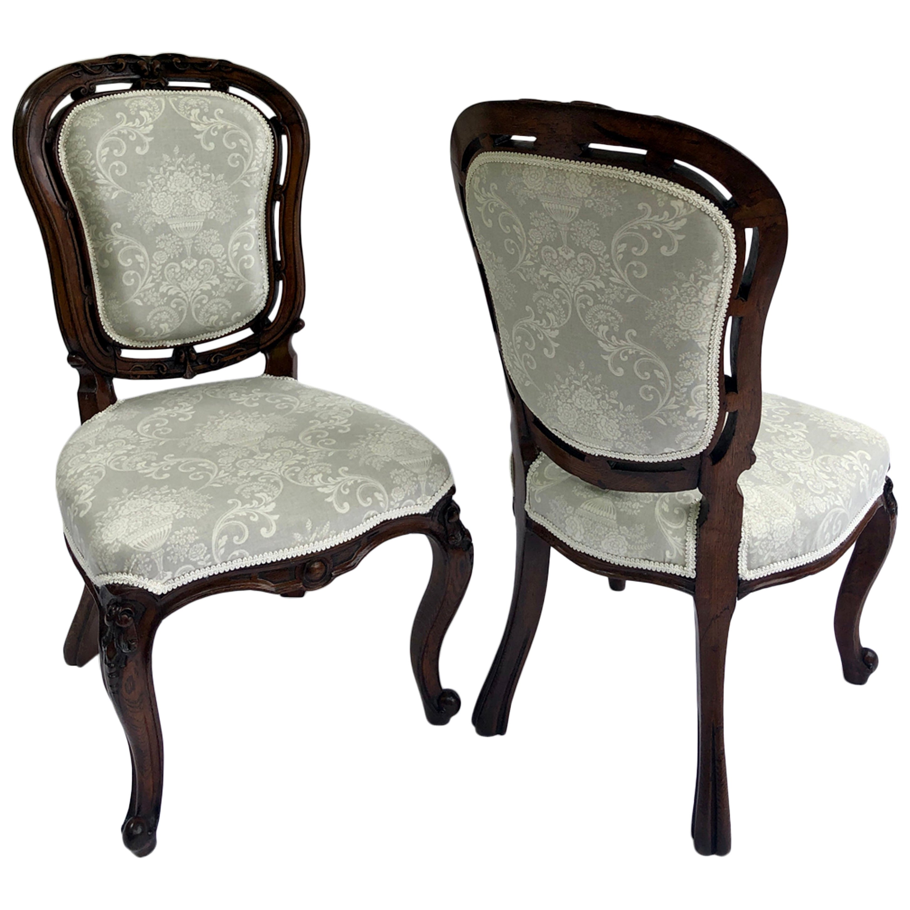 Pair of Quality Victorian Walnut Carved Side/Desk Chairs