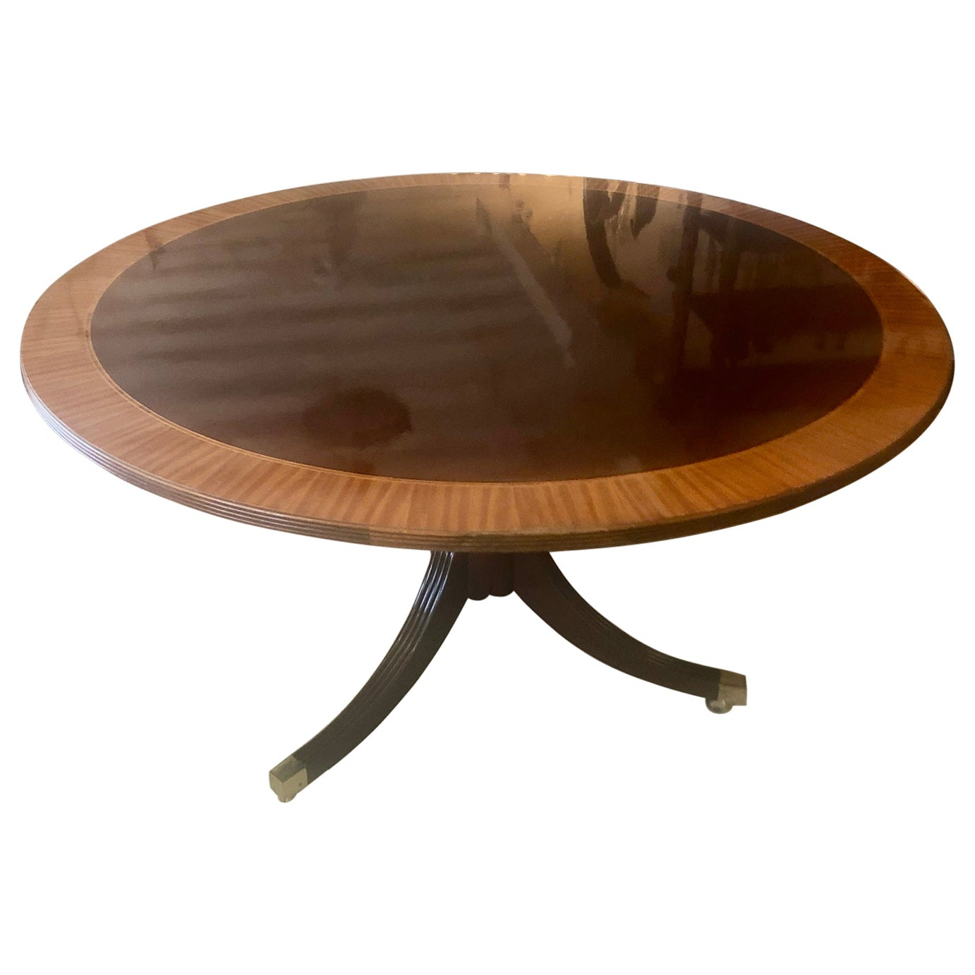 Classic Round Mahogany and Banded Satinwood Dining Table Center Table by Baker