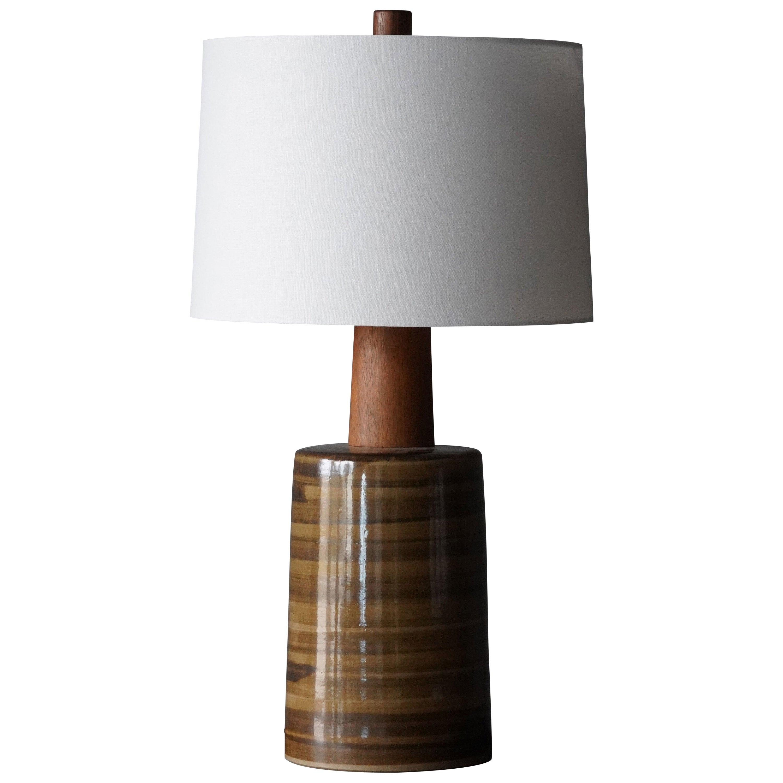 Jane & Gordon Martz, Large Table Lamp, Ceramic, Walnut, Marshal Studios, 1950s