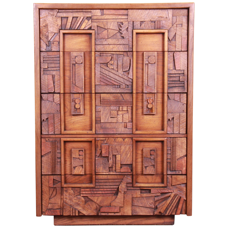 Paul Evans Style Lane Pueblo Brutalist Mid-Century Modern Oak Highboy Dresser