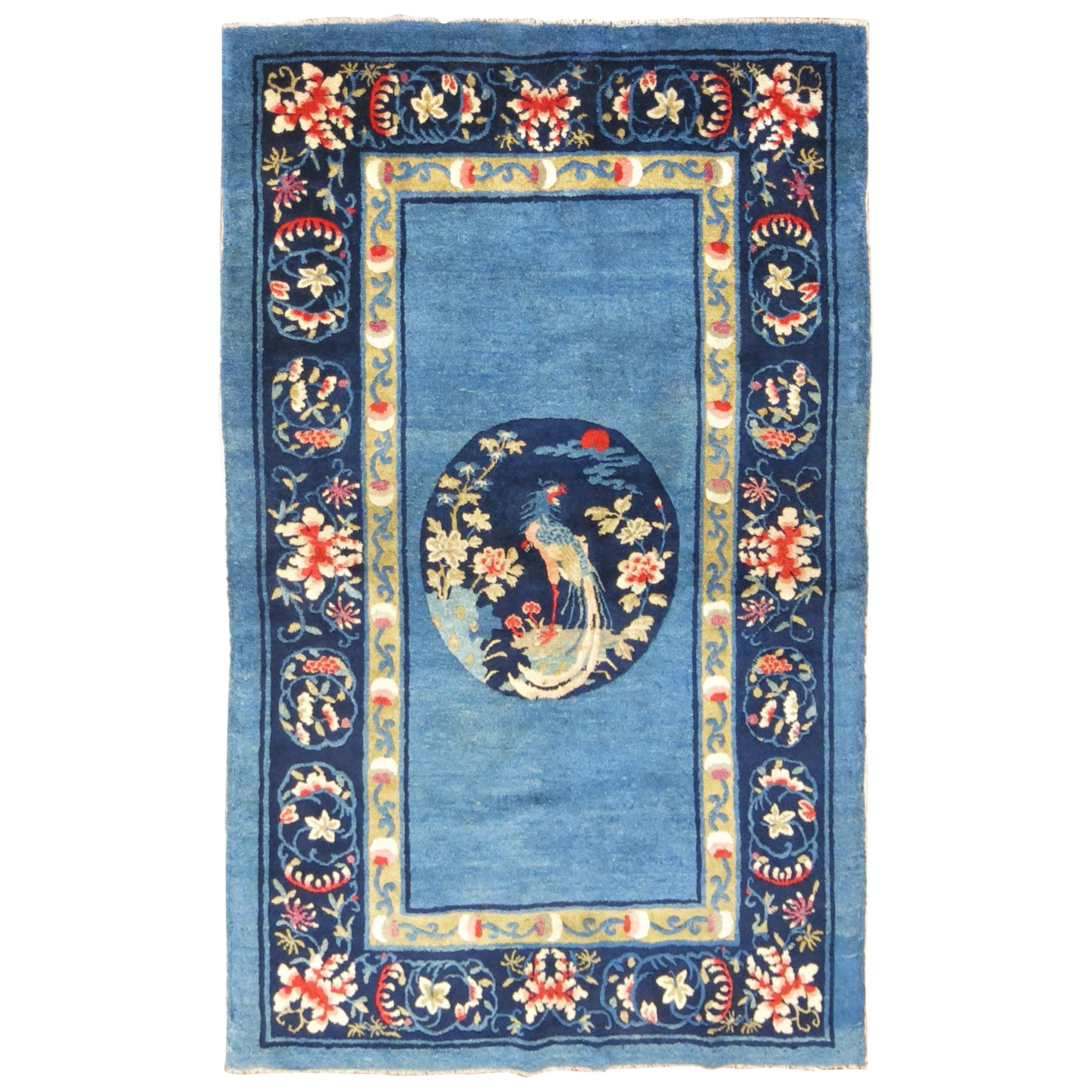 Sky Blue Traditional Chinese Peking Scatter Rug