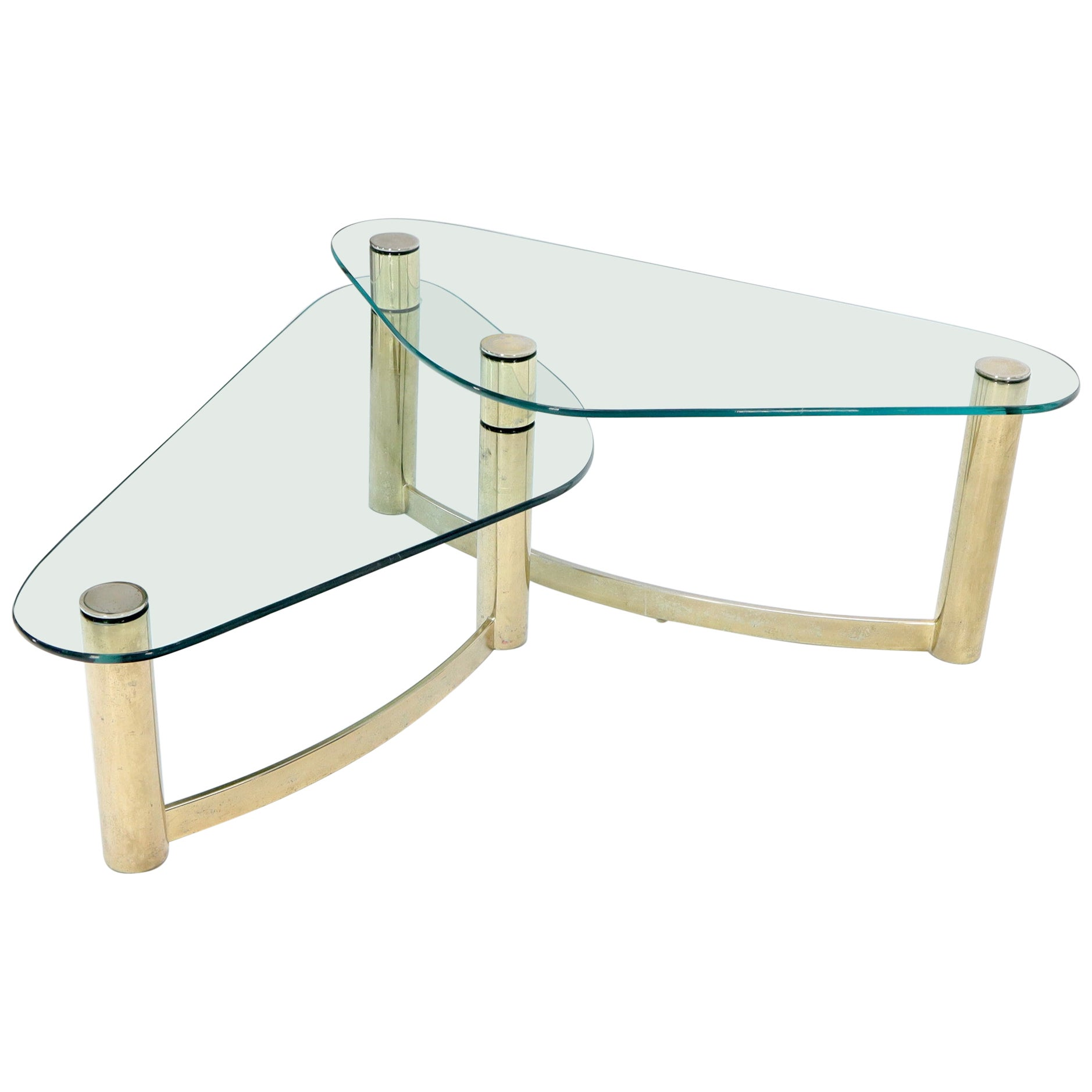 """Two-Tier """"L"""" Shape Glass and Brass Organic Kidney Shape Coffee Table"""