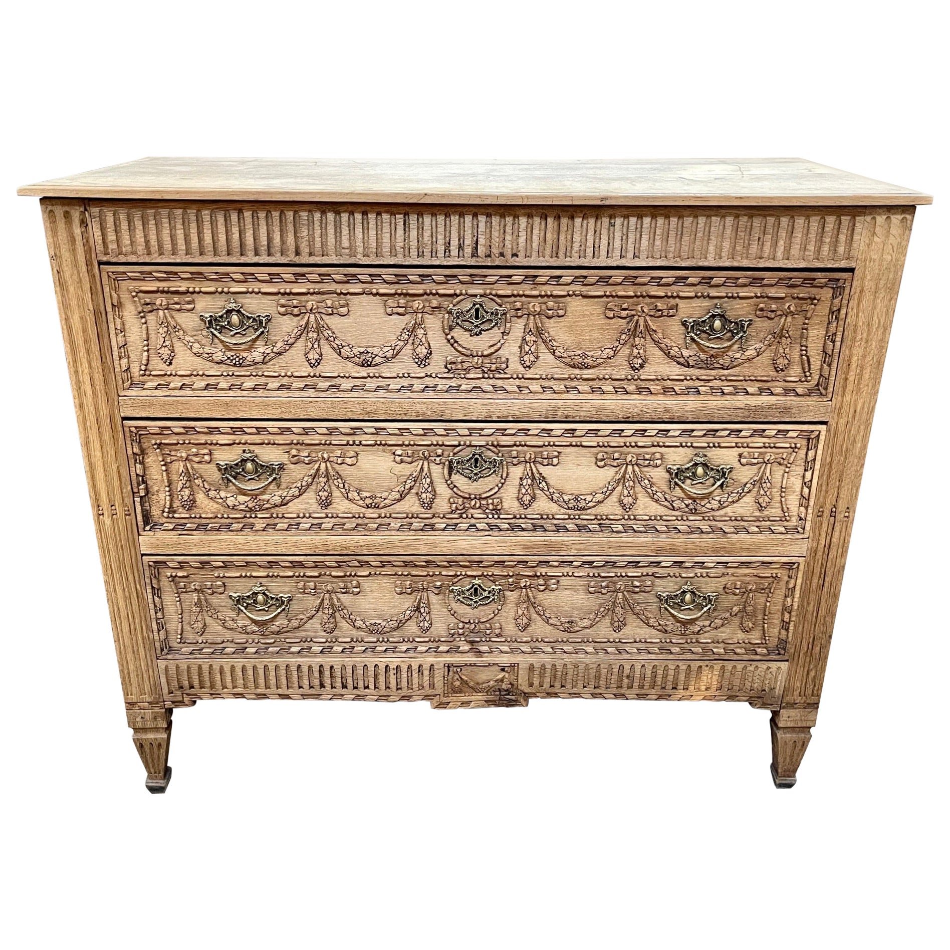 Early 19th Century French Louis XVI Style Bleached Commode