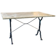 Large Antique French Iron Bistro and Garden Table with Marble Top