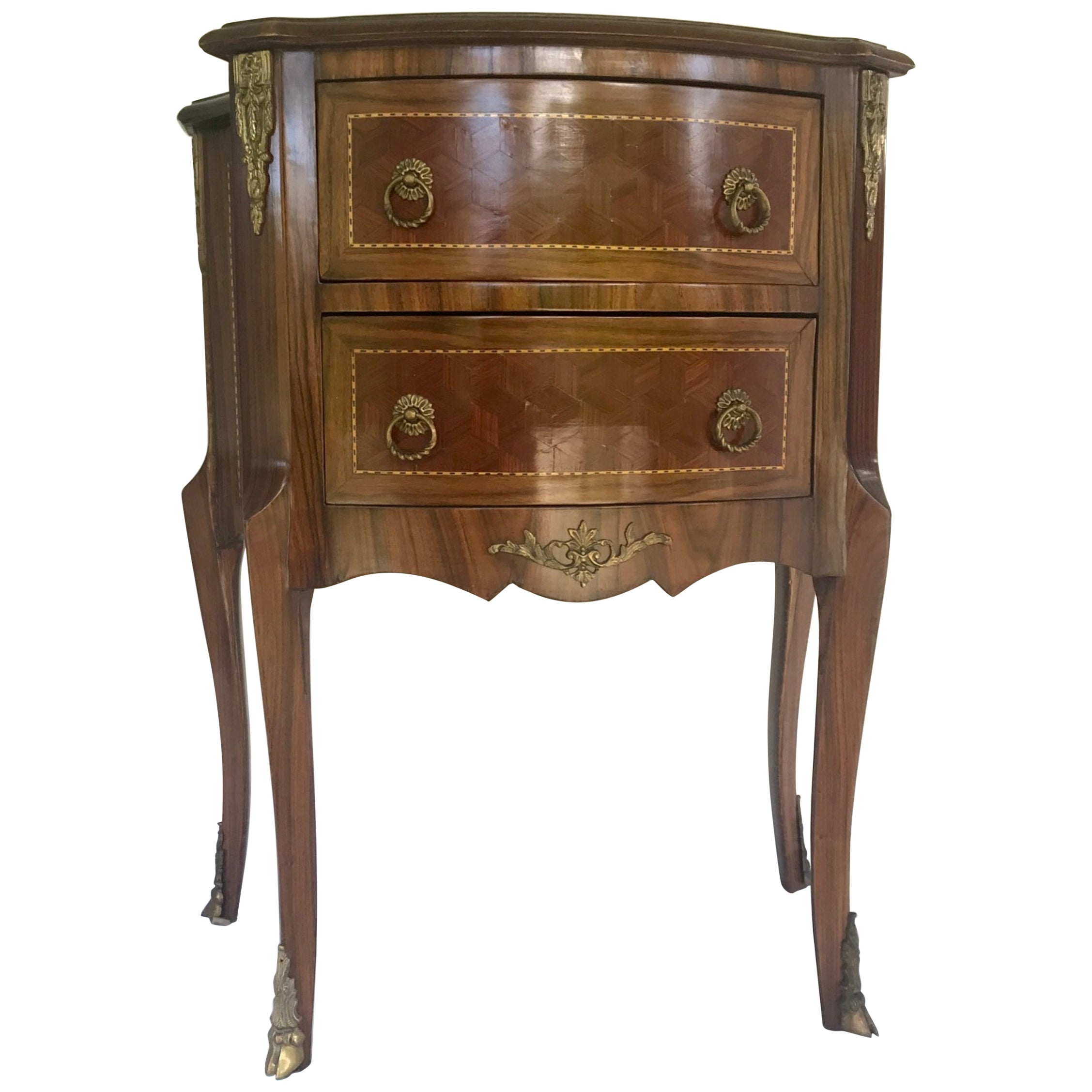 Late 19th Century Louis XVI Style Kingwood Marquetry 2-Drawer Commode