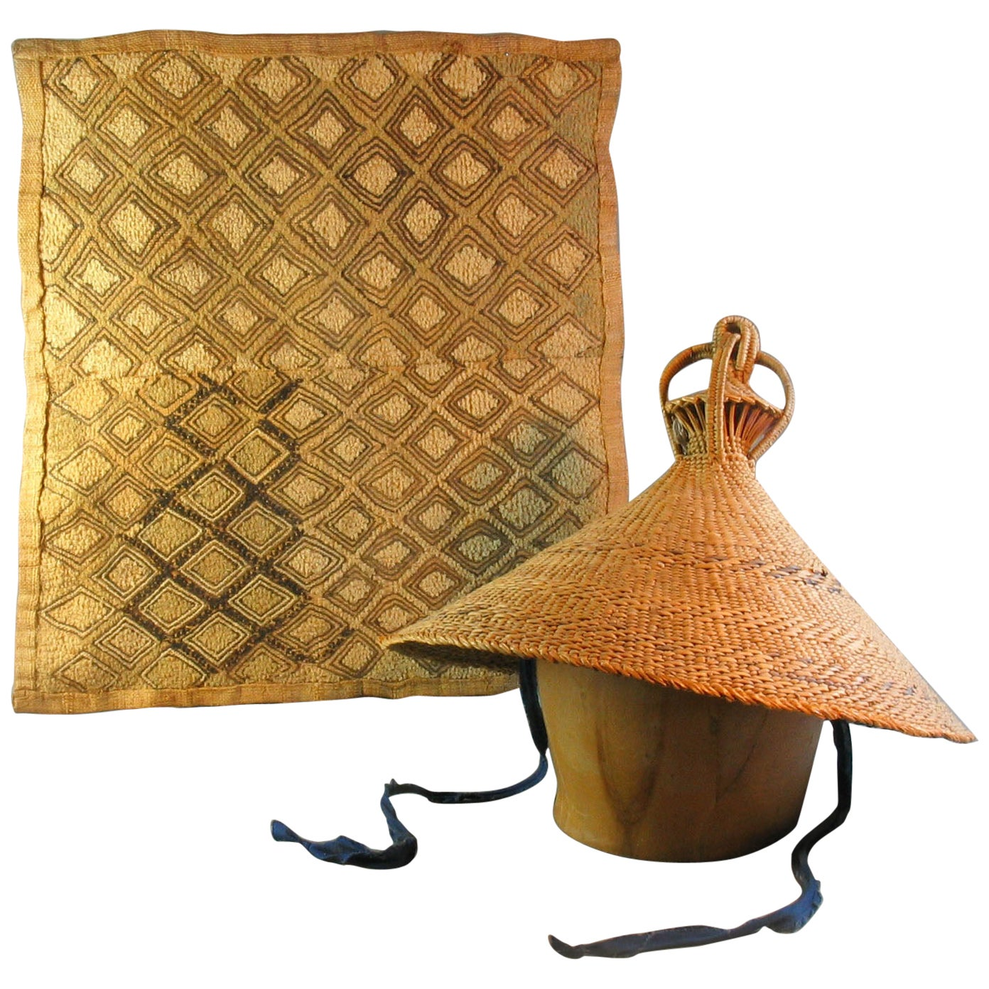 Kuba Ceremonial Raffia Textile Panel with a Hat from Lesotho Tribal Art Drc