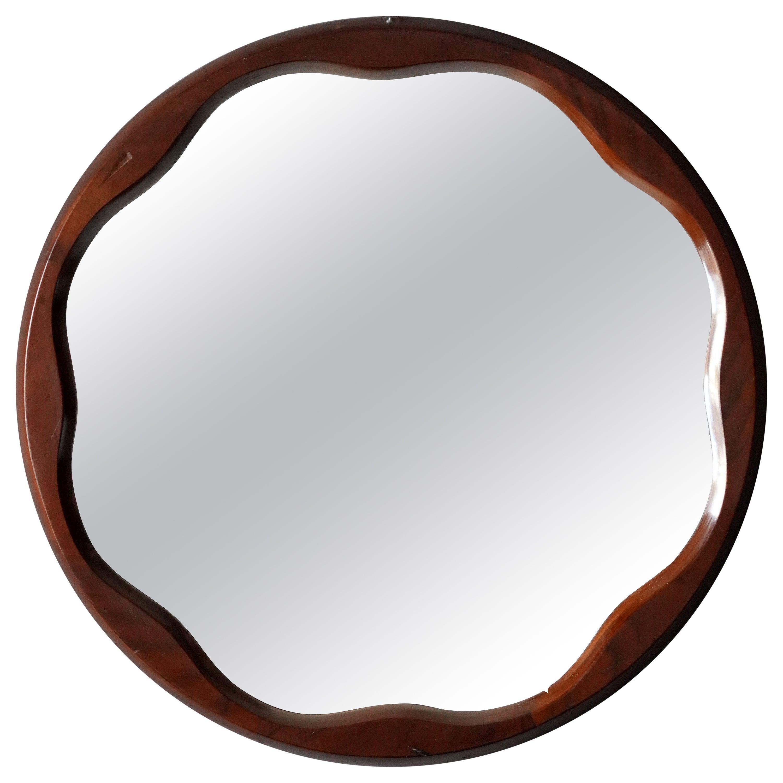 Italian Designer, Organic Modernist Mirror, Walnut, Mirror Glass, Italy, 1950s