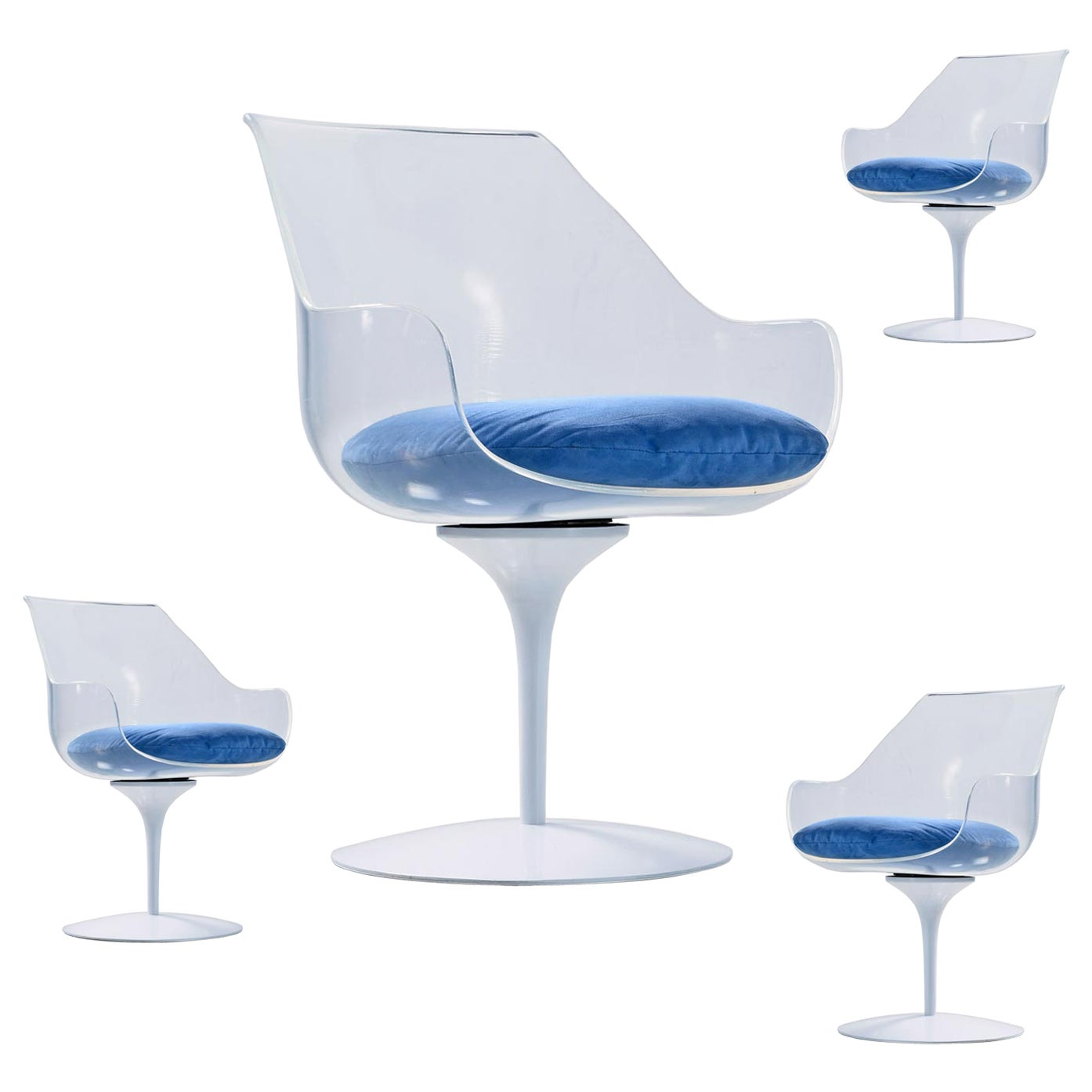 Restored Tulip Base Acrylic Lucite Champagne Chairs by Erwin & Estelle Laverne