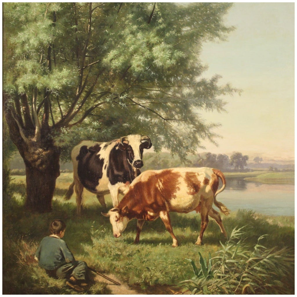 19th Century Oil on Canvas French Antique Signed Painting Bucolic Scene, 1871