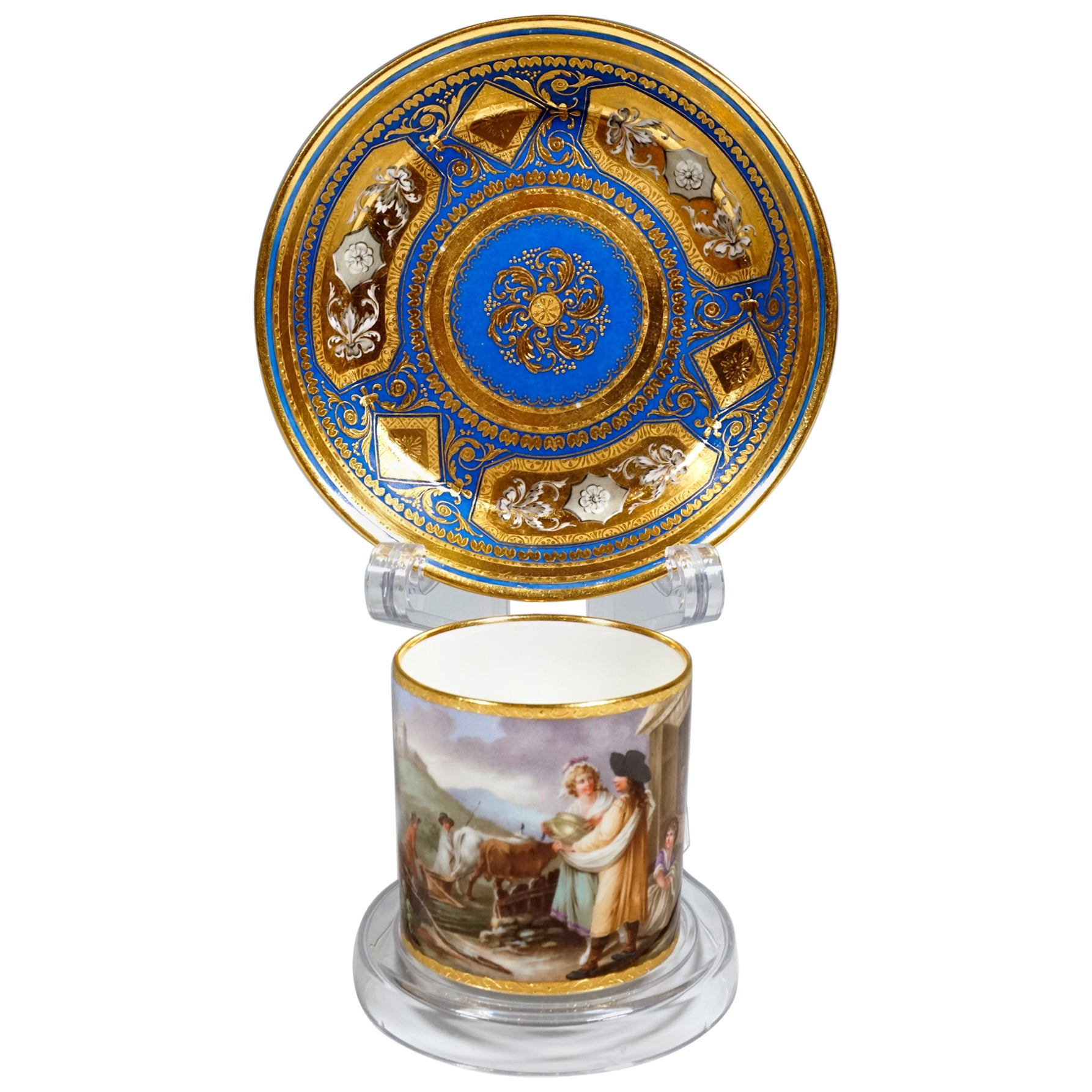 Viennese Imperial Porcelain Collecting Cup with Genre Scene, Sorgenthal, 1801