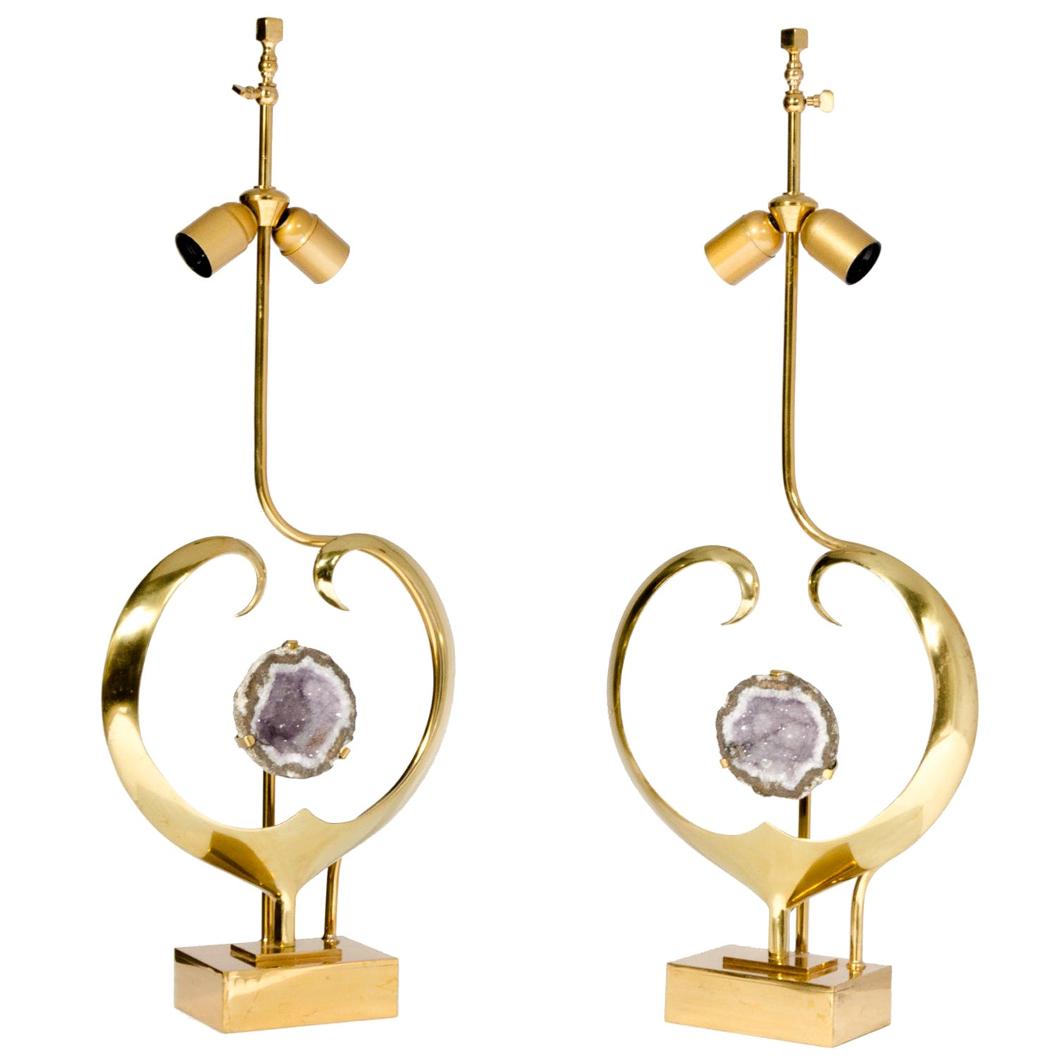 Pair of Lamps in Sculptural Heart Brass and Amethyst by Willy Daro