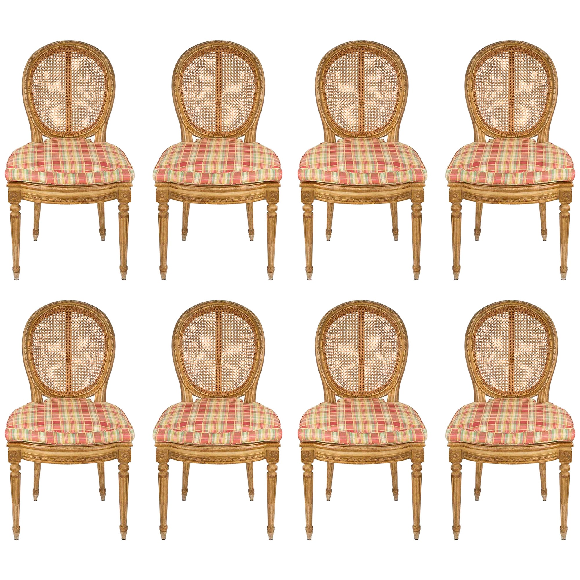 Set of Eight Italian 19th Century Louis XVI Style Giltwood Caned Dining Chairs