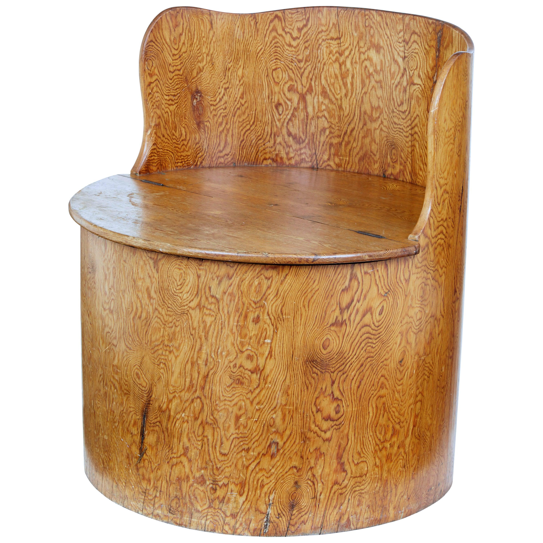 19th Century Swedish Pine Dug Out Chair