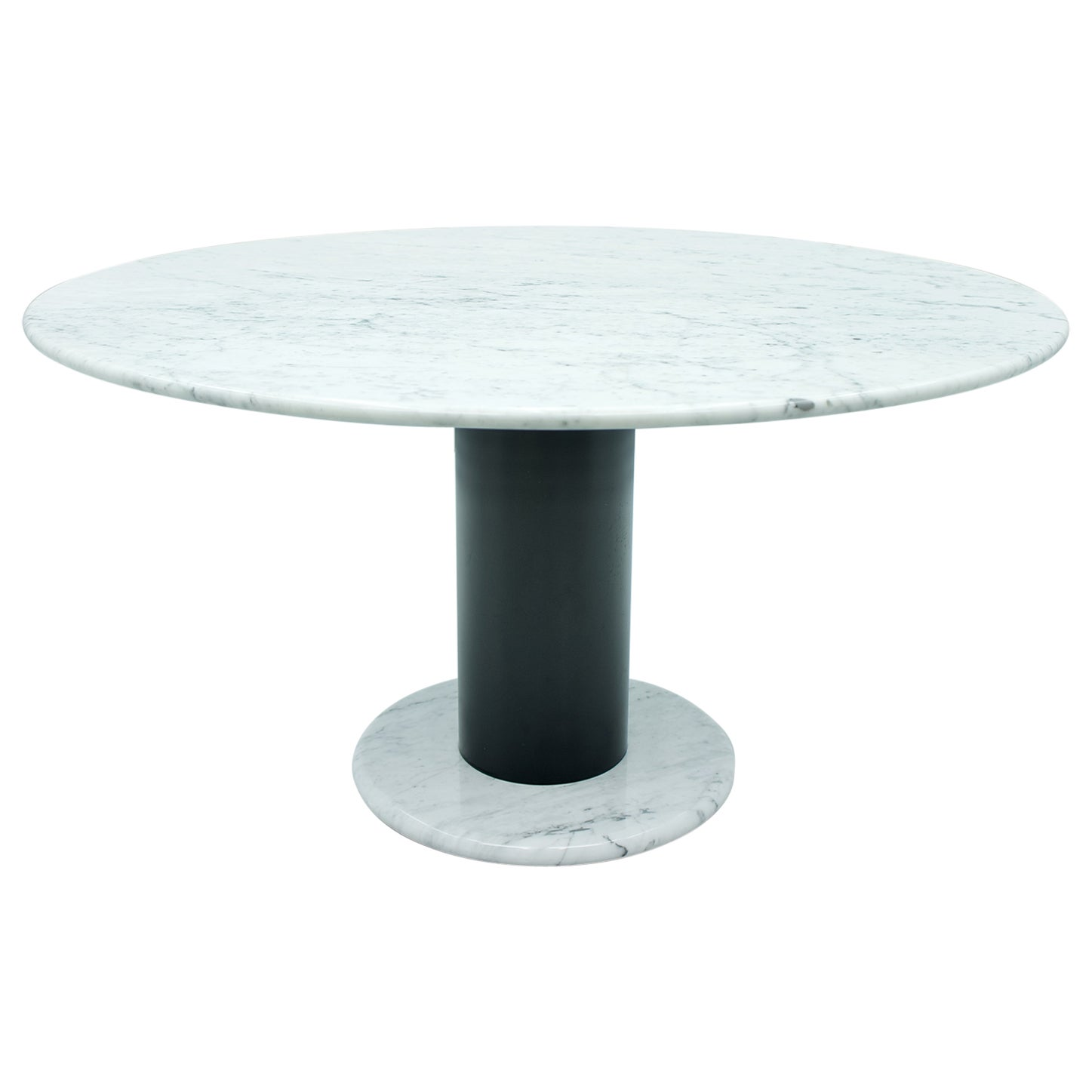 Ettore Sottsass White Marble Pedestal Dining Table, 1965