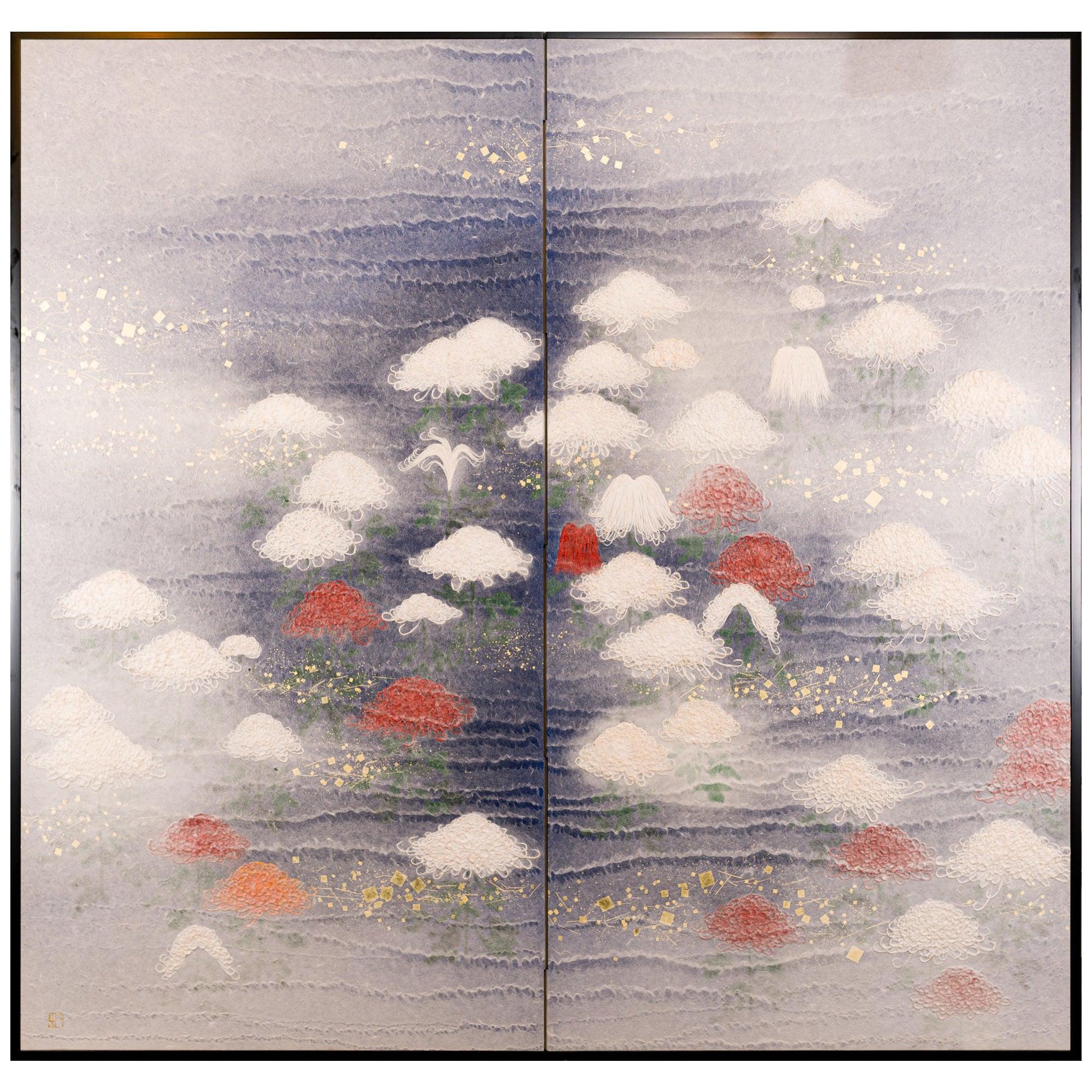 Japanese Two Panel Screen Chrysanthemums Through the Mist Obara Art Screen