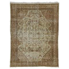 Distressed Antique Persian Mahal Rug with Shabby Chic Farmhouse Style