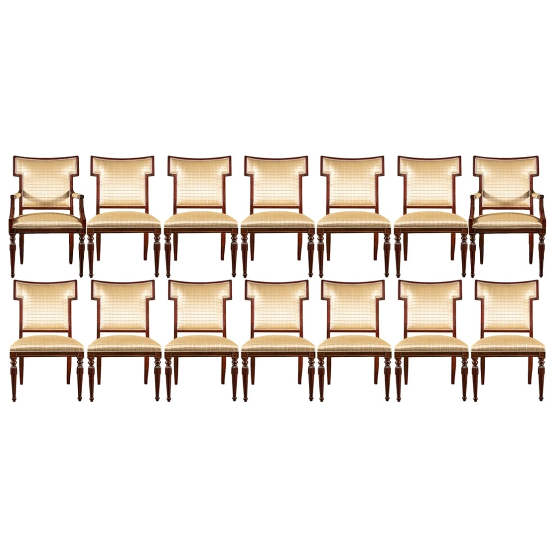Fine Set of 14 Upholstered Dining Chairs by Hickory