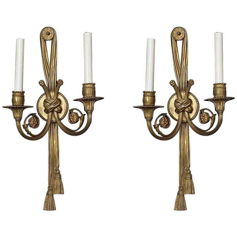 1900s, Pair of French Louis XVI Style Two-Light Sconces