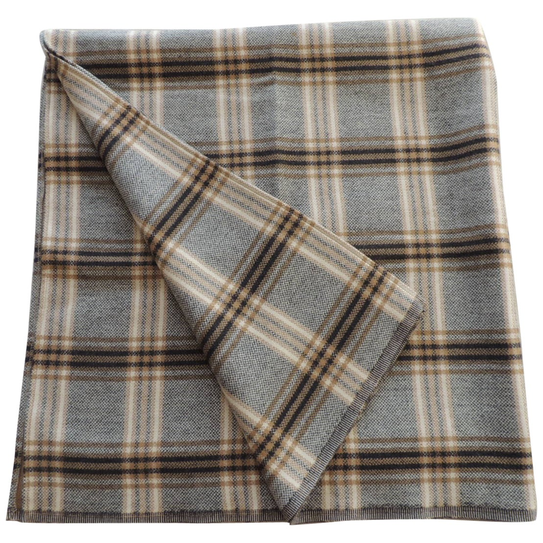 Vintage Grey and Tan Tartan Plaid Wool Decorative Throw