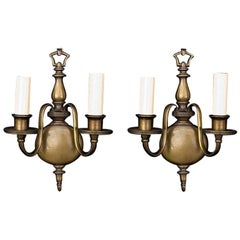 1920s Pair of American Made Oil Rubbed Bronze Sconces in a Flemish Style