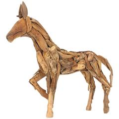 Reclaimed Wood Folk Art Horse Sculpture
