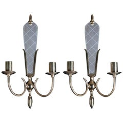 1950s Pair of Venetian and Mid-Century Modern Style Sconces with Etched Mirror