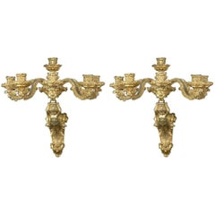 1850s French Made Ormolu Bronze Sconces in a Napoleon I Style