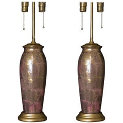 1930s Pair of French Pink and Gold Glass Decoupage Table Lamps