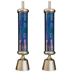1950s Pair of French Mid-Century Modern Iridescent Glass Table Lights