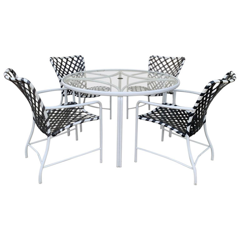 Vintage Brown Jordan Patio Set from the Tamiami Collection 1 Table and 4 Chairs For Sale