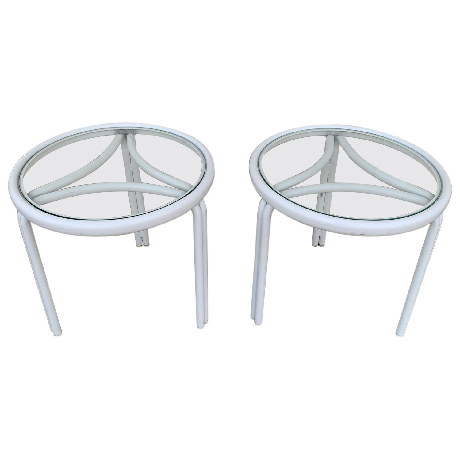 Vintage Pair of Tamiami Side Tables in White Metal and Glass Tops