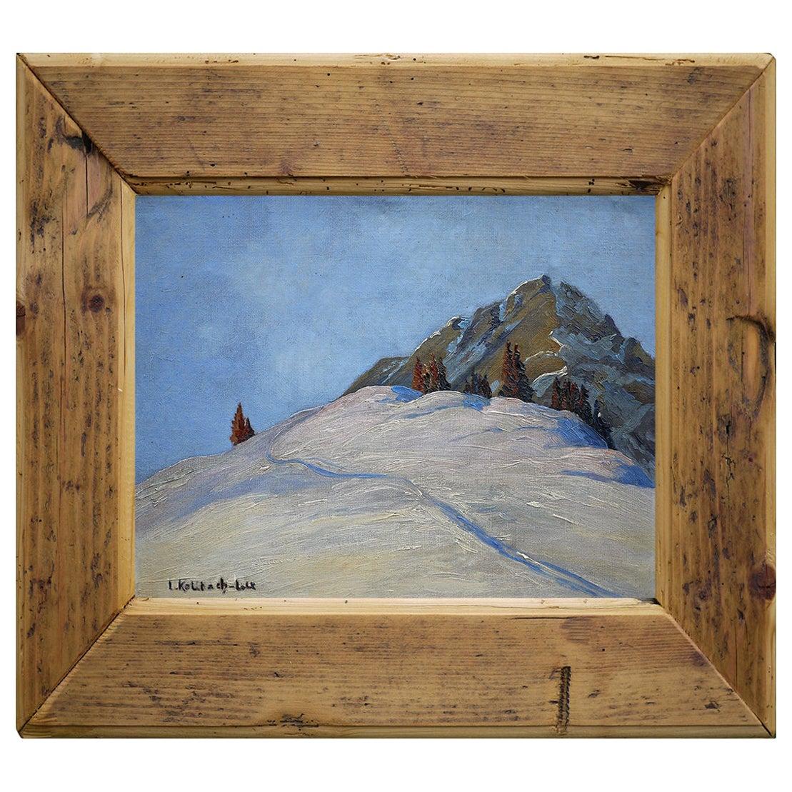 Oil Painting, Alps, Winter Landscape, 1930s