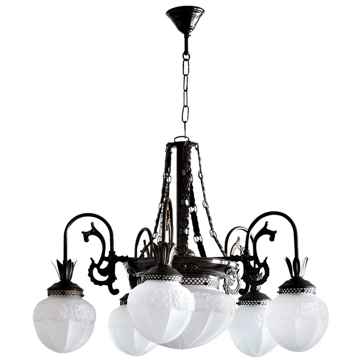 French Art Deco Brass Frosted Glass Seven-Light Chandelier