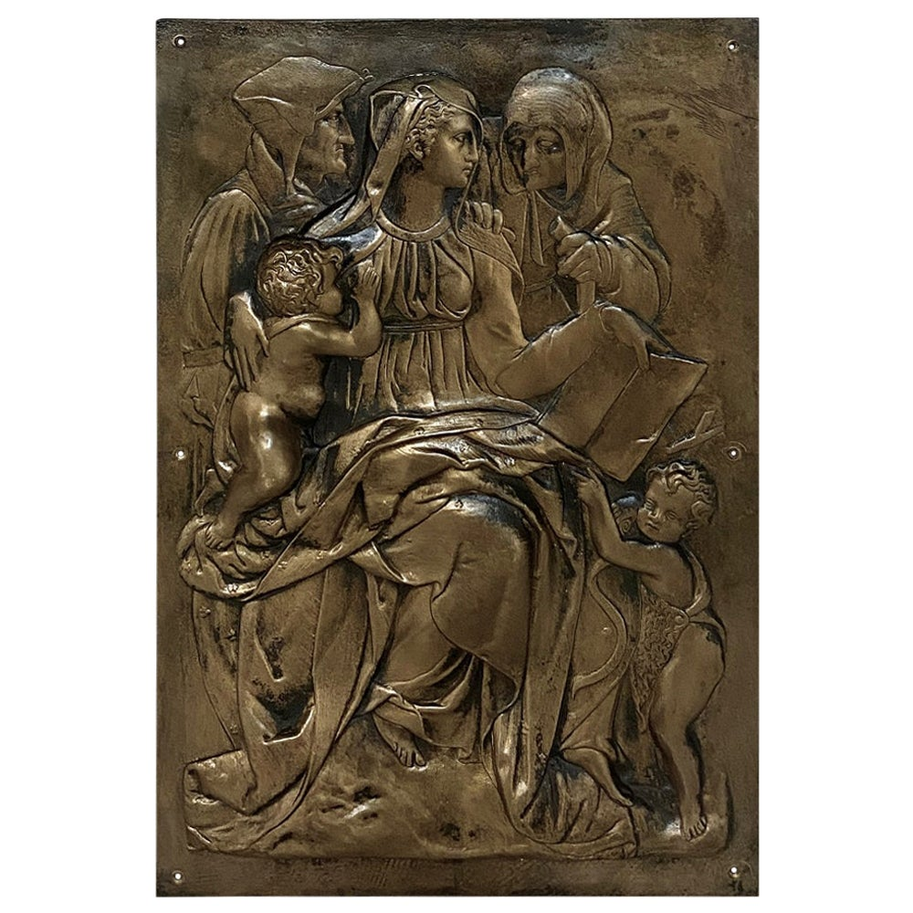 19th Century Embossed Bronze Plaque of Mary, Jesus and John the Baptist