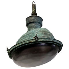 French Copper and Glass Art Deco Pendant Fixture
