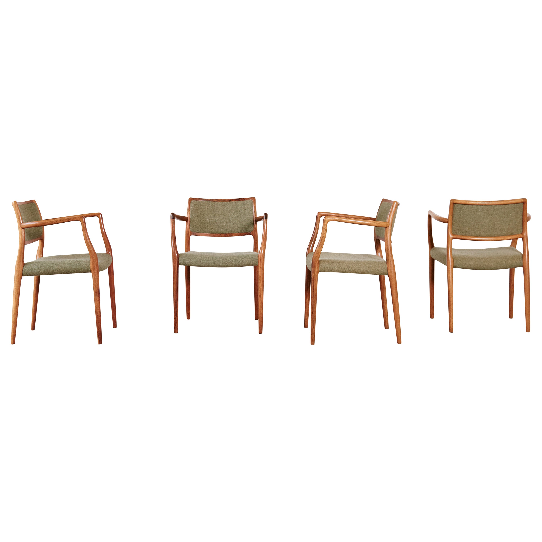 Set of Four Model 65 Dining Chairs by Niels O. Møller 'Moller', Denmark, 1960s